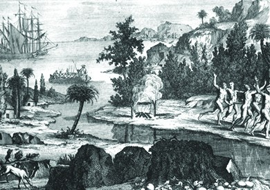 This is a drawing showing Timucua Indians fleeing the Spanish settlers, who arrived by ship.