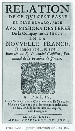 A seventeenth-century French copy of the Jesuit Relations is shown.