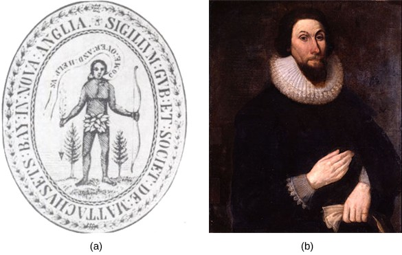 """Image (a) shows the 1629 seal of the Massachusetts Bay Colony. On the seal, an Indian dressed in a leaf loincloth and holding a bow is depicted asking colonists to """"Come over and help us."""" Image (b) is a portrait of John Winthrop, who wears dark clothing, an Elizabethan ruff, and a pointed beard."""