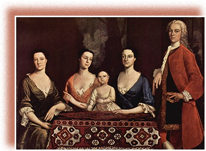 A painting depicts Isaac Royall with three women and a small child. Royall stands; the women are seated at his side. All are dressed formally in the fashion of the times, with the women in low-necked gowns with ruffled sleeves and Royall in a long coat and a white ruffled cravat.