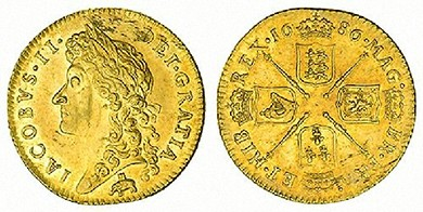 The front and back of an English guinea are shown. The front of the coin shows a bust of King James II with an elephant and castle logo beneath.