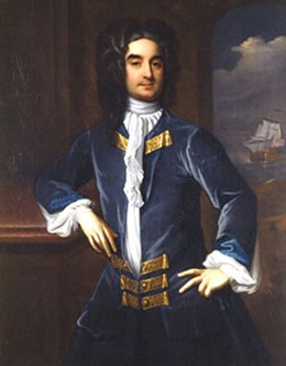 A painted portrait shows William Byrd II posing with an elbow on a mantelpiece.