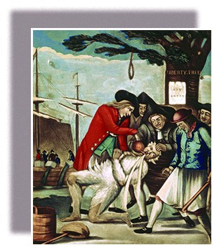 "A painting shows five Patriots tarring and feathering the Commissioner of Customs, John Malcolm. One Patriot forcibly pours tea from a teapot into Malcolm's mouth. In the background, the Boston Tea Party and the Liberty Tree are visible. On the Liberty Tree hangs an upside-down paper labeled ""Stamp Act."""