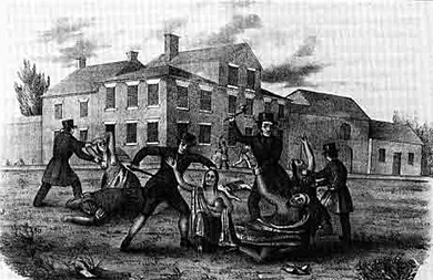A lithograph shows a small group of men in dark coats and hats attacking and stabbing Conestoga men and women in traditional dress. The Conestoga woman in the center of the image is nursing a baby. The buildings in which the Conestoga had lived while in protective custody are visible in the background.