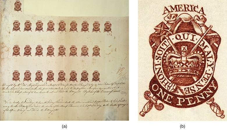 "A left-hand image shows a partial proof sheet with several rows of one-penny stamps. A right-hand image shows a close-up of one of these stamps, which depicts a mantle; a circle, with St. Edward's crown inside; and a scepter and sword, which are crossed behind the crown. The circle is labeled with the words ""Honi soit qui mal y pense,"" the motto of the highest English order of chivalry. At the top of the design is the word AMERICA; the bottom reads ONE PENNY."