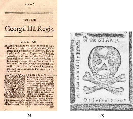 "A left-hand image shows a newspaper publication of the Stamp Act, which contains an image of a revenue stamp. A right-hand image shows a skull and crossbones, bordered by the words ""An Emblem of the Effects of the STAMP. O! the fatal STAMP."""