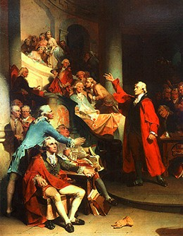 A Painting Shows Patrick Henry Making Speech To Room Full Of Well Dressed