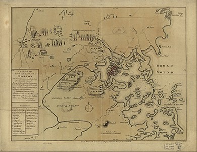 A 1779 map shows details of the British and Patriot troops at the beginning of the war, including British camps at Winter Hill, Roxbury Hill, and Water Town Hill.