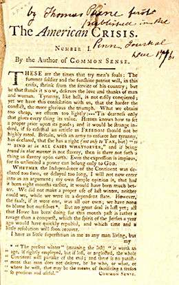 "The first page of Thomas Paine's The American Crisis is shown. It is subtitled ""By the Author of COMMON SENSE."""