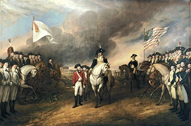 A painting depicts American general Benjamin Lincoln holding out his hand to receive the British general's sword as he formally surrenders. General George Washington is in the background, mounted on horseback. British and American troops are lined up, at attention, on opposite sides of the field; the Americans stand under an American flag, while the British soldiers stand under a white flag.