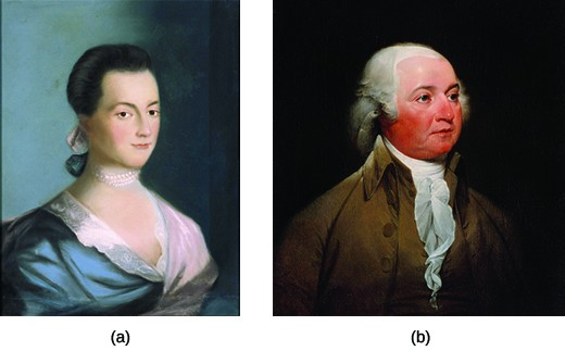A portrait of Abigail Adams is shown in image (a). Her hair is tied back in a simple style and she wears a silk gown and a pearl choker. Her husband, John Adams, is shown in image (b). He has powdered hair and wears a brown, high-collared coat and a cravat.