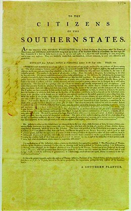 "The first page of a broadside, headed ""To the Citizens of the Southern States,"" is shown."