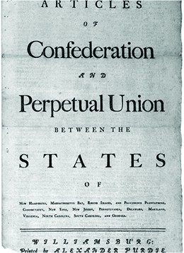 """The first page of the Articles of Confederation is shown. The language reads """"Articles of Confederation and Perpetual Union between the States of New-Hampshire, Massachusetts-Bay, Rhode-Island and Providence Plantations, Connecticut, New-York, New-Jersey, Pennsylvania, Delaware, Maryland, Virginia, North-Carolina, South-Carolina and Georgia."""""""