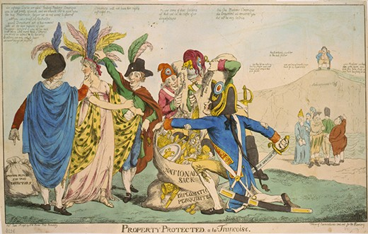 "A cartoon, titled Property Protected á la Françoise, satirizes the XYZ affair. Five Frenchmen are shown plundering the treasures of a woman representing the United States. One man holds a sword labeled ""French Argument"" and a sack of gold and riches labeled ""National Sack and Diplomatic Perquisites,"" while the others collect her valuables. A group of other Europeans look on and commiserate that France treated them the same way; one says, ""aye they left me nothing but my prayer book and Crown, and striped that of its jewels."""