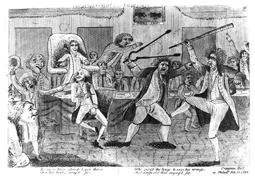 "A cartoon, titled ""Congressional Pugilists,"" shows Matthew Lyon, a Democratic-Republican representative from Vermont, fighting his opponent, Federalist Roger Griswold, in Congress Hall. A group of congressmen watch as Griswold, armed with a cane, kicks Lyon, who is armed with a massive pair of fireplace tongs and grabs Griswold's arm. Below the scene are the words: ""He in a trice struck Lyon thrice / Upon his head, enrag'd sir, / Who seiz'd the tongs to ease his wrongs, / And Griswold thus engag'd, sir."""