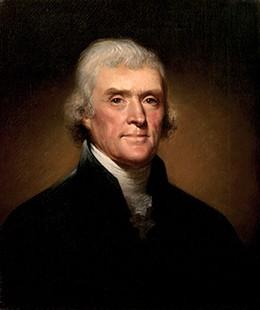 A portrait of Thomas Jefferson is shown.