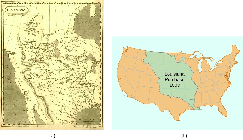 Map (a) shows the territory added to the United States in the Louisiana Purchase as the mapmakers of the time envisioned it. Map (b) shows the modern United States, with the land acquired in the Louisiana Purchase shaded, a huge chunk of the middle of the country.