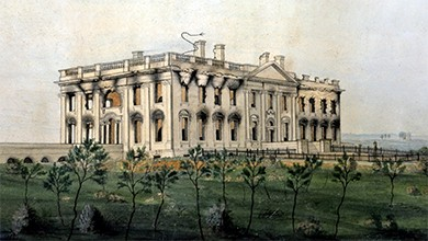 A painting depicts the burned White House, which is blackened inside with smoke damage visible on its exterior.
