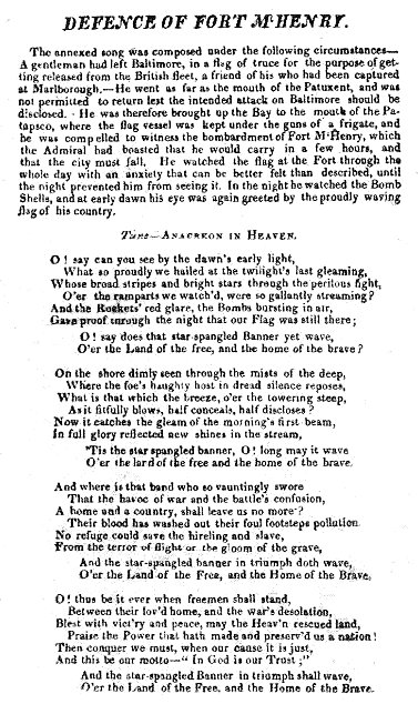 Text from a broadside printing of the Star Spangled Banner.