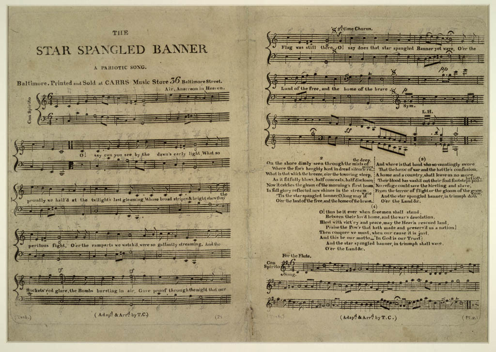 Old, yellowed version of the printed Star-Spangled Banner