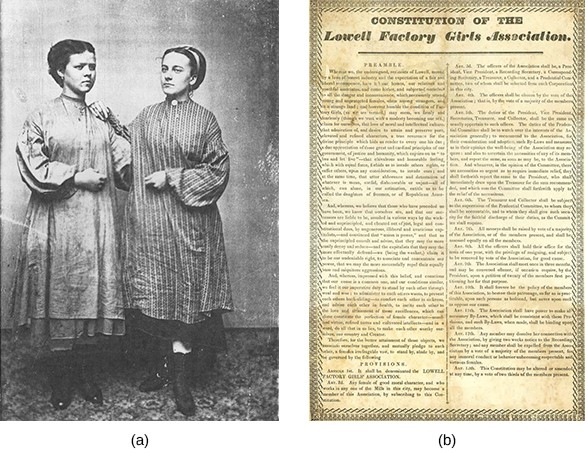 """Tintype photograph (a) shows two young women wearing work smocks standing side by side. Image (b) is a document titled """"Constitution of the Lowell Factory Girls Association."""""""