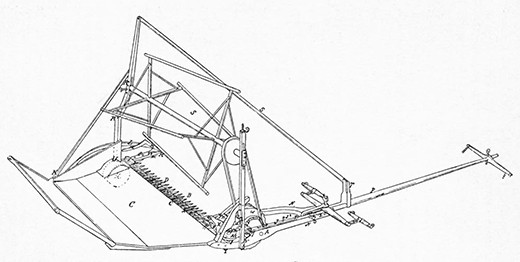 A mechanical drawing shows the workings of a grain reaper, with parts labeled.