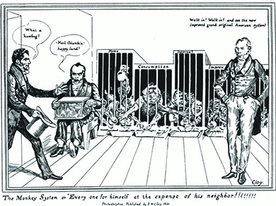 "A political cartoon depicts four caged monkeys labeled ""Home,"" ""Consumption,"" ""Internal,"" and ""Improv"" stealing each other's food. Henry Clay, in the foreground, says, ""Walk in! Walk in! and see the new improved grand original American System!"" A seated organ grinder says, "" 'Hail Columbia' happy land!"" as another man walks in saying, ""What a humbug!"""