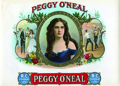 """A cigar-box lid shows a portrait of Peggy O'Neal at the center; she is shown as a young and attractive woman in a low-cut dress. On the left, Andrew Jackson presents O'Neal with flowers. On the right, two men fight a duel for her. Labels reading """"Peggy O'Neal"""" appear on the top and bottom."""