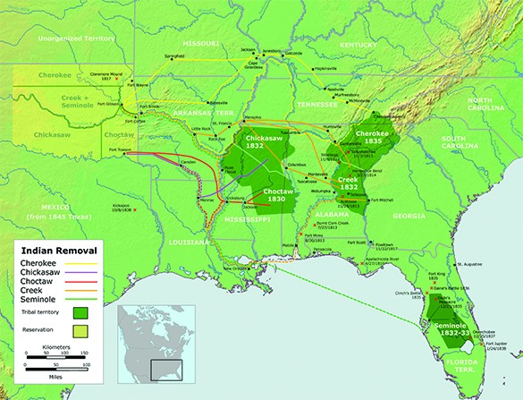 A map shows the routes taken by the Cherokee, Creek, Choctaw, Chickasaw, and Seminole from the Southeast to an area in the western territory during their forced removal from their homelands.