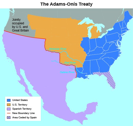 A Map Shows The Results Of The Adams Onis Treaty Of 1819 Colors Indicate