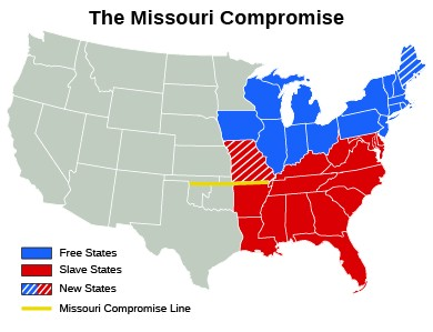 Slavery States Map.The Missouri Crisis United States History I