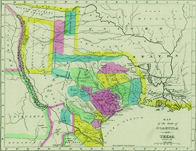 """A historical map, entitled """"Map of Coahuila and Texas in 1833,"""" indicates the borders of the various land grants Mexico made to American settlers."""