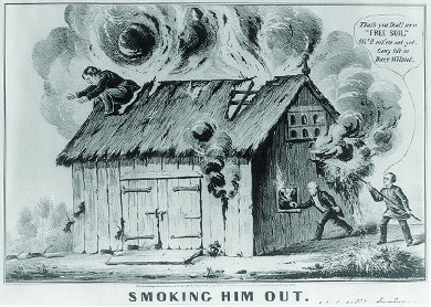 """A cartoon depicts Martin Van Buren and his son John setting fire to a barn, from which smoke billows. Lewis Cass crouches on the roof, preparing to leap. John exclaims """"That's you Dad! more 'Free Soil.' We'll rat 'em out yet. Long life to Davy Wilmot."""""""