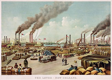 A print shows the port of New Orleans. Numerous bales of cotton sit on the dock, minded by dock workers. Many large steamships are visible in the distance.