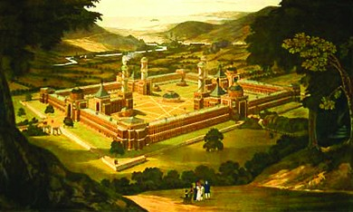 An engraving depicts an aerial view of a peaceful bucolic landscape with a massive walled compound at its center. Within the compound, several large buildings, including an industrial building from which steam rises, are visible. From a nearby hill, a small group of adults and children gaze at the community.