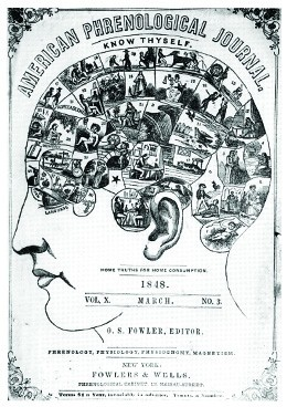 The March 1848 cover of the American Phrenological Journal depicts a human head; the brain region contains a series of vignettes showing the various faculties of the mind.