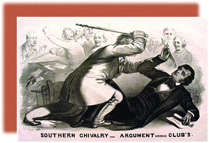 """An illustration shows Preston Brooks attacking Charles Sumner with a cane while several men look on in the background. The caption reads """"Southern Chivalry—Argument versus Club's."""""""