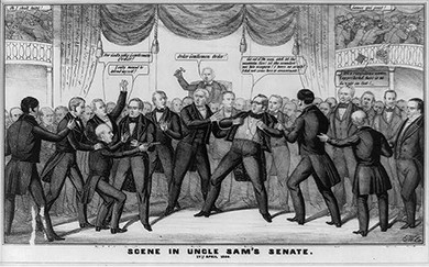 """A cartoon shows Henry S. Foote drawing a pistol on Thomas Hart Benton. Benton declares, """"Get out of the way, and let the assassin fire! let the scoundrel use his weapon! I have no arm's! I did not come here to assassinate!"""" Foote, with several men restraining him, aims the gun at Benton with the response: """"I only meant to defend myself!"""" In the background, Millard Fillmore wields his gavel, calling for order. Behind Foote, a senator yells, """"For God's sake Gentlemen Order!"""" To the right of Benton, Henry Clay says, """"It's a ridiculous matter, I apprehend there is no danger on foot!"""" In the galleries, visitors escape the scene."""