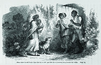 """An illustration from Uncle Tom's Cabin depicts a young slave woman, who is disguised with scarves and holding a small child, speaking with an older slave couple under cover of night. The caption reads """"Eliza comes to tell Uncle Tom that he is sold, and that she is running away to save her child."""""""