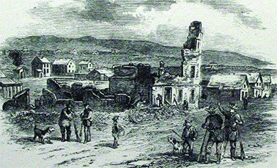 An illustration shows the aftermath of the sacking of Lawrence, Kansas, by border ruffians. Several men and dogs stand outside the ruins of the Free State Hotel.