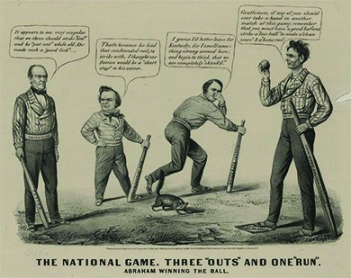 """A cartoon titled """"The national game. Three 'outs' and one 'run'"""" depicts a baseball game in which Lincoln has defeated John Bell, Stephen A. Douglas, and John C. Breckinridge. Lincoln, with his foot on """"Home Base,"""" says, """"Gentlemen, if any of you should ever take a hand in another match at this game, remember that you must have a good bat and strike a fair ball to make a clean score and a home run.'"""" Lincoln's bat is a wooden rail labeled """"Equal Rights and Free Territory,"""" and his belt is labeled """"Wide Awake Club."""" A skunk raises its tail at the other candidates. Breckinridge holds his nose and declares """"I guess I'd better leave for Kentucky, for I smell something strong around here, and begin to think, that we are completely skunk'd.'"""" Breckinridge's bat is labeled """"Slavery Extension,"""" and his belt is labeled """"Disunion Club."""" John Bell says, """"It appears to me very singular that we three should strike foul and be put out while old Abe made such a good lick."""" Bell's belt is labeled """"Union Club,"""" and his bat is labeled """"Fusion."""" Douglas, who holds a bat labeled """"Non Intervention,"""" replies, """"That's because he had that confounded rail, to strike with, I thought our fusion would be a short stop to his career."""""""
