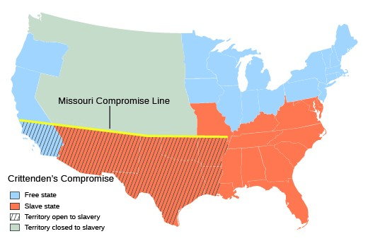 a map shows the missouri compromise line as well as those states and regions below