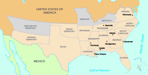 A Map Shows The Confederate States And Regions Including Arizona Territory Texas Indian