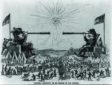 """A cartoon, entitled, """"'Masterly Inactivity' or Six Months on the Potomac,"""" depicts a larger-than-life George B. McClellan and P. G. T Beauregard, reclining on massive chairs with the Potomac River between them, looking at one another through long telescopes. Meanwhile, beneath them, their troops engage in social visits, sports, and other leisure-time activities, including happily and fruitlessly tossing rocks at their enemies across the river."""