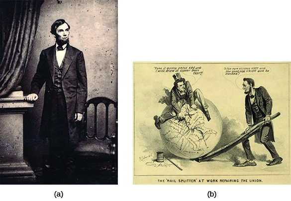 """Photograph (a) shows a standing portrait of Lincoln. Cartoon (b), titled """"The 'Rail Splitter' at Work Repairing the Union,"""" shows Andrew Johnson sitting atop a globe, mending a map of the United States with a needle and thread. Beside him, Lincoln holds the globe in place using a large split rail. Johnson says """"Take it quietly Uncle Abe and I will draw it closer than ever!!!"""" Lincoln replies, """"A few more stitches Andy and the good old Union will be mended!"""""""