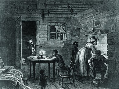 An illustration shows a black family, with three small children, tending to their hearth as a hooded Klansman, undetected, points a rifle at them through the open doorway.