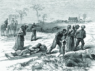 An illustration of the Colfax Massacre shows survivors tending to those involved in the conflict. The dead and wounded all appear to be black, and two white men on horses watch over them. Another man stands with a gun pointed at the survivors.