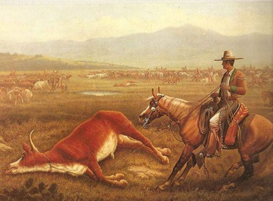 A painting shows a Mexican vaquero mounted on a horse in front of a large dead animal, which he has lassoed with a rope.