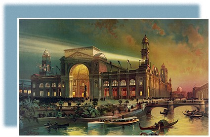 A painting shows the Electrical Building at the Chicago World's Fair. The building, set on a waterway through which small boats and gondolas glide, is brightly illuminated against a backdrop of the night sky.