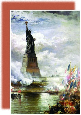 A painting depicts the unveiling of the Statue of Liberty, which is surrounded by many small boats flying American and French flags.